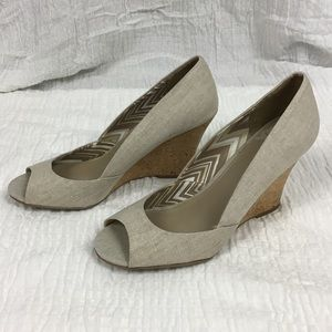 Fergalicious | tan linen peep toe wedges 9.5